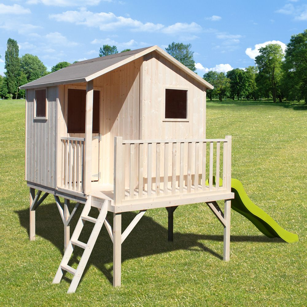 cabane en bois pour enfant avec toboggan l 39 univers du b b. Black Bedroom Furniture Sets. Home Design Ideas